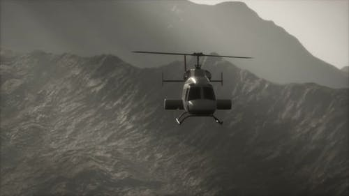 Extreme Slow Motion Flying Helicopter Near Mountains with Fog