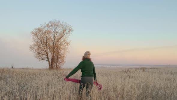 Thumbnail for Autumn Landscape, Woman Traveler Having Fun at Sunrise