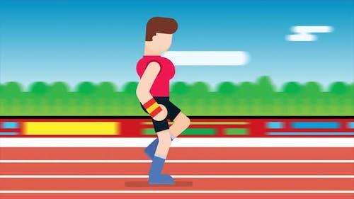 Runner athlete running on running track.