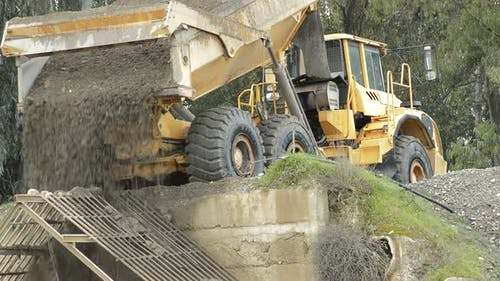 Construction Truck Unloading River Sand