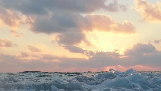 Sea Waves In Slow Motion During Beautiful Sunset