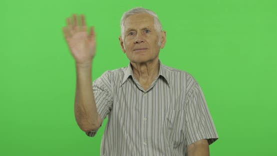 Thumbnail for Senior Man Waving Hands To Camera. Handsome Old Man on Chroma Key Background