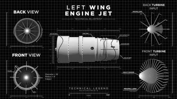 Monochrome Futuristic Display HUD of Left Wing Jet Engine