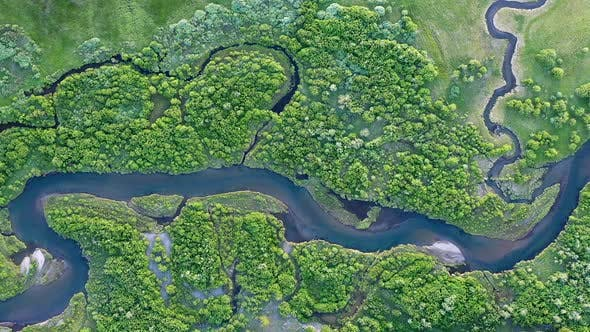 Thumbnail for Panning aerial view of the South Fork Madison River