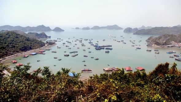 Landscape of Cat Ba Island with Boats, Ha Long Bay, Vietnam Timelapse