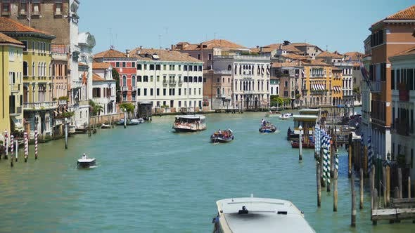 Thumbnail for Tourists Travel by Vaporettos in Venice, Beautiful View of Grand Canal, Italy