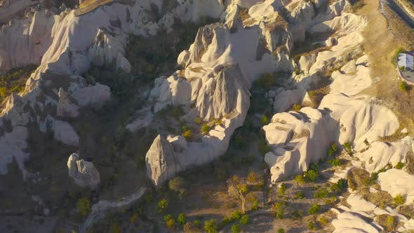 Cappadocia Aerial Drone View Sandy Volcanic Formations
