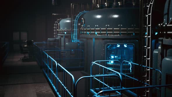 Futuristic Cyberpunk Power Plant Thermonuclear or Nuclear Reactor