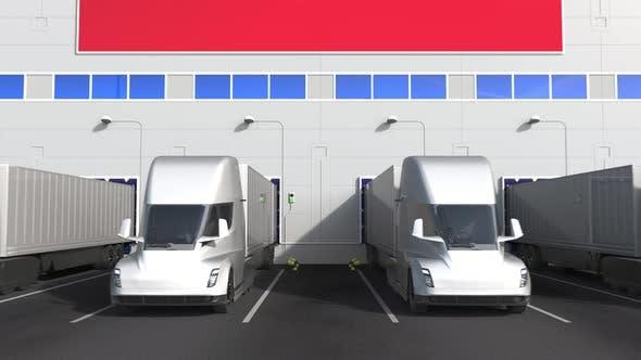 Semitrailer Trucks at Warehouse Loading Bay with Flag of ECUADOR