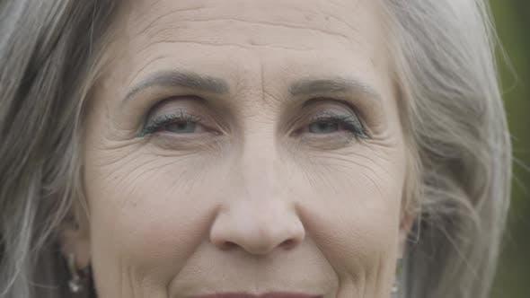 Thumbnail for Closeup Eyes of Beautiful Wrinkled Senior Woman Looking at Camera Smiling