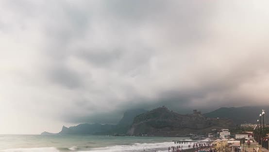 Thumbnail for City Beach in the City of Sudak at the Foot of the Mountain. Crimea