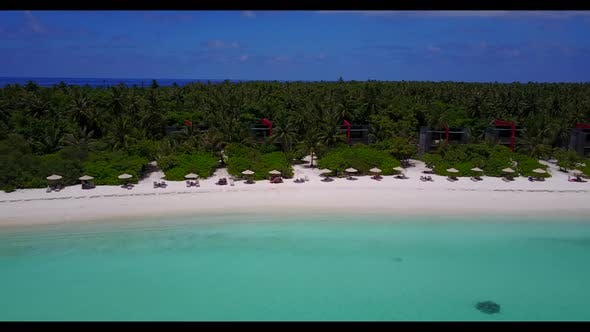 Aerial tourism of marine seashore beach lifestyle by turquoise ocean with white sandy background of