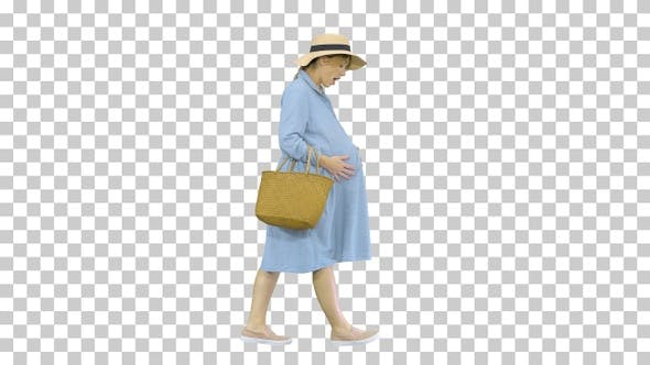 Thumbnail for Beautiful pregnant woman wearing big hat, Alpha Channel
