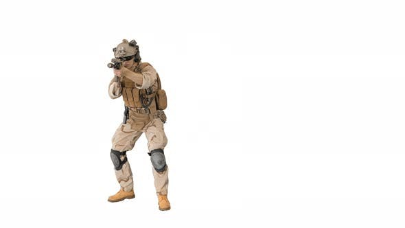 Soldier Moving From Side To Side Aiming with the Rifle on White Background