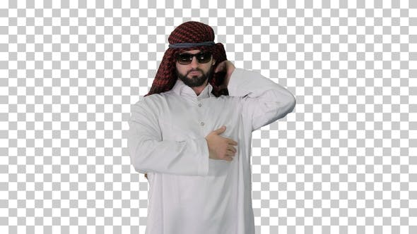 Cool sheikh in sunglasses posing looking to camera, Alpha Channel