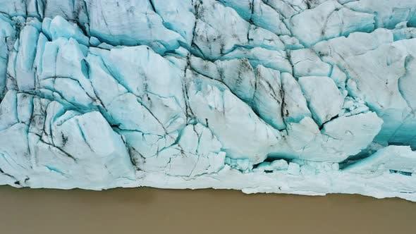 Aerial Drone Footage of Vantajokull Glacier in Iceland and Fjallsarlon Lake
