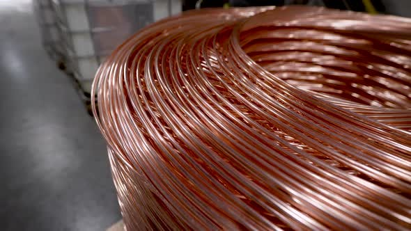 Thumbnail for Copper Rod. Thick Copper Wire Coiled Into a Huge Bobbin. Copper Is One of the Rare Metals Used