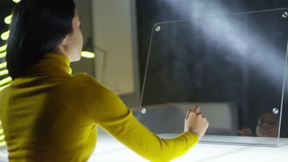 Thumbnail for Female Freelancer Swiping on Transparent AR Display