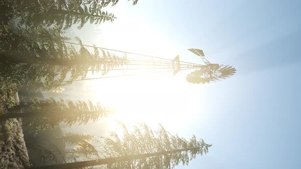 Thumbnail for Typical Old Windmill Turbine in Forest. Vertical Format