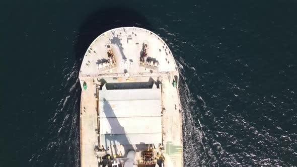 Cargo Ship Flying Aerial View