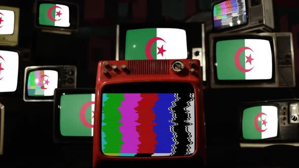 Thumbnail for The national flag of Algeria and Retro TVs.