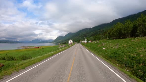 Cover Image for Vehicle Point-of-view Driving a Car on a Road in Norway