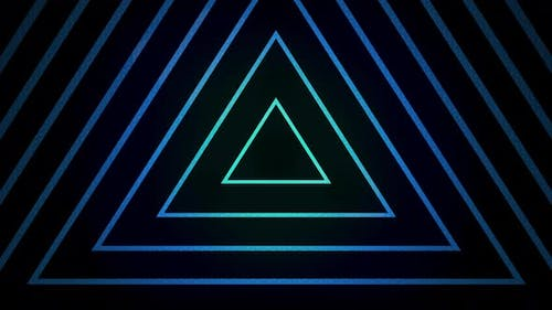 Blue Lines in the Shape of a Triangle Cross the Screen Against a Black Background