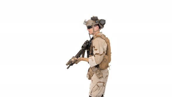 Soldier Aiming with an Assault Rifle on White Background