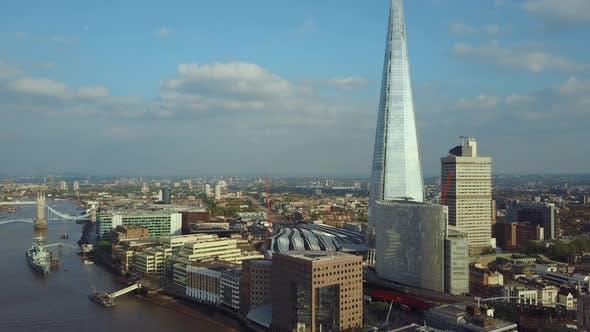 Aerial London View Near Shard and Tower Bridge