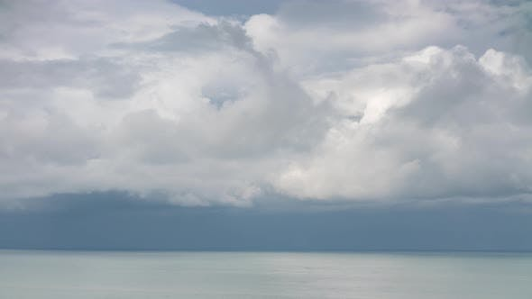 Cover Image for Storm Rainy Clouds Moving Over the Sea Horizon