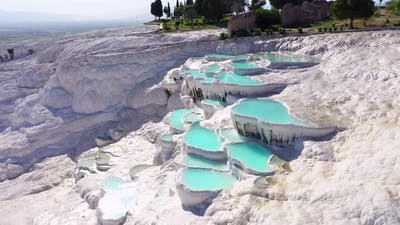 Aerial view of Pamukkale - Turkey.