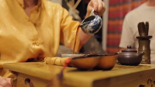 Tea Ceremony Lady Master Serving Drinking Pots, Exotic Spiritual Etiquette