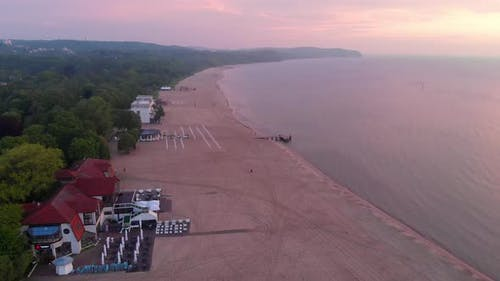 Empty Beach At Sunrise