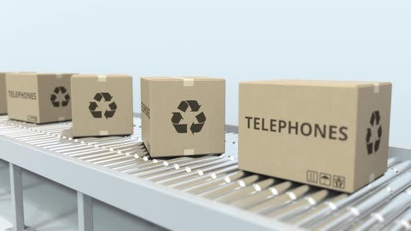 Cartons with Telephones on Roller Conveyor