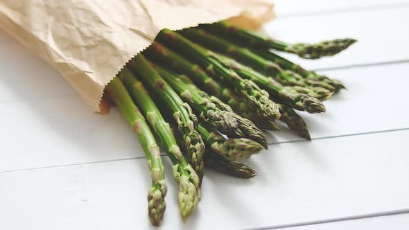 Thumbnail for Fresh Green Asparagus in a Brown Paper Bag. Healthy Eating Concept, Food for Vegetarians