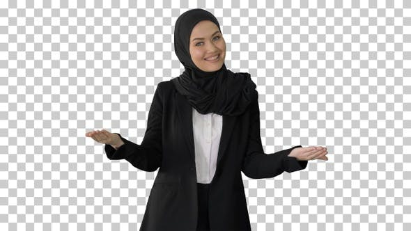 Confident young muslim business woman, Alpha Channel