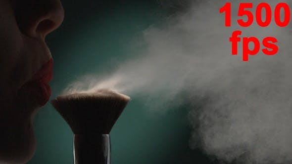 Thumbnail for Female Lips Blowing On Make Up Brush With Powder Concept Of Beauty Green Aqua Menthe Background
