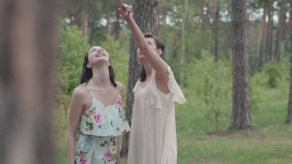 Thumbnail for Portrait of Two Beautiful Woman in Short White Dresses Standing Around Amazing Nature