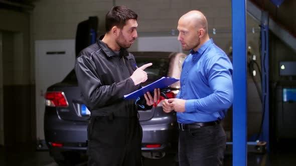 Thumbnail for Auto Mechanic and Customer at Car Shop