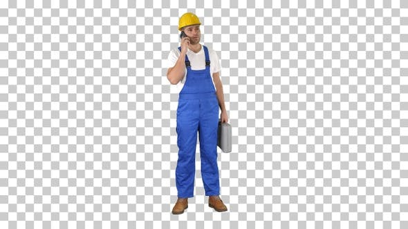 Thumbnail for Construction Worker On Telephone, Alpha Channel