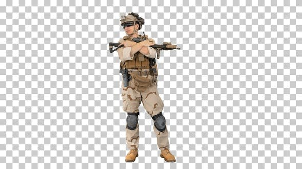 Thumbnail for Tired american soldier with a rifle standing, Alpha Channel