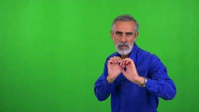 Old Senior Man Does Karate - Green Screen - Studio