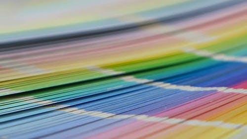 Große Palette mit bunten Beispielen für Proof-Lacken. Nahaufnahme
