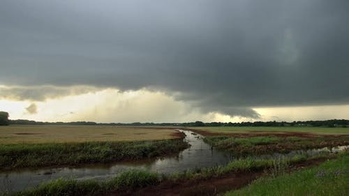 Tornado warned storm rolling through the landscape in Oklahoma