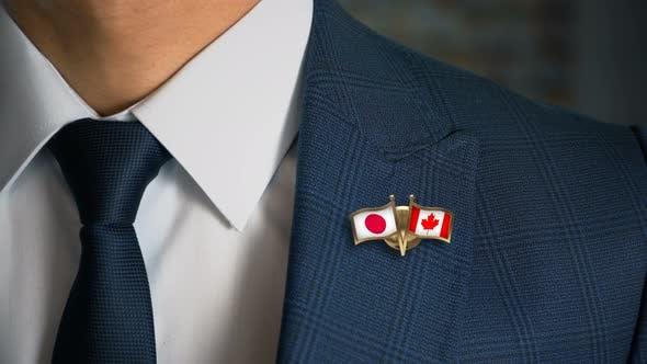 Thumbnail for Businessman Friend Flags Pin Japan Canada
