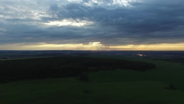 Thumbnail for View From Drone Field With Sunset Sky Nature Landscape