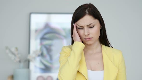Thumbnail for Headache, Portrait of Tense Woman in Office