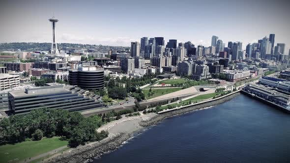 Thumbnail for Aerial Pan Of Seattle Waterfront Stylized