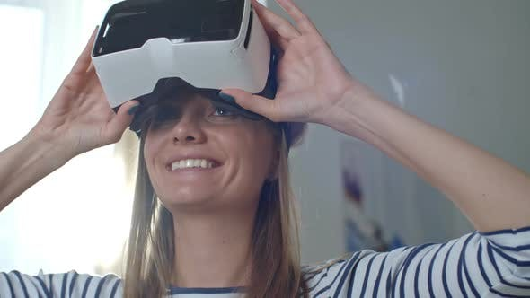 Thumbnail for Happy Woman Wearing VR Headset