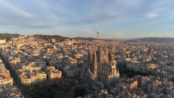 Thumbnail for Sagrada Familia Temple, Barcelona Aerial View